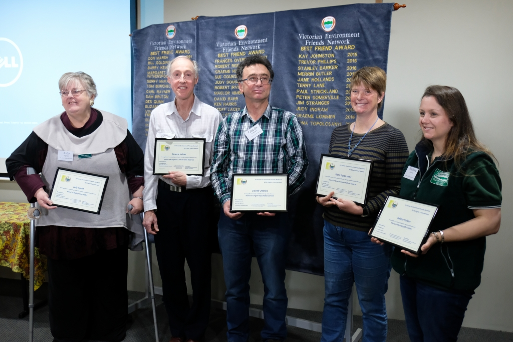 Judy Ingram, Friends of Maribyrnong Valley; Graeme Lorimer, Friends of Bungalook Conservation Reserves; Ben Ellis, Friends of Water Race & Quinn Reserve; Fiona Topolcsanyi, Friends of Ocean Grove Nature Reserve and Melissa Holden, Friends of Wonnangatta Valley