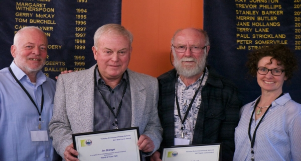 Jim Stranger (second from left), Friends of Tyers Park receives his Best Friend Award and Spencer Unthank, from Penguin Study Group, receives a Highly Commended certificate from Nina Cullen (right), Executive Director of the Biodiversity Division of the Department of the Environment, Land, Water & Planning and Paul Strickland (left) Convenor of VEFN.