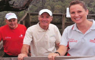 Jim Stranger (left) with Joe van Beek, Friends of Tyers Park member, and Stacey Podmore, Health Promotion Officer Latrobe Community Health Services, on a reconnaissance for a Heart Foundation Park Walk at Petersons Lookout within the Tyers Park.
